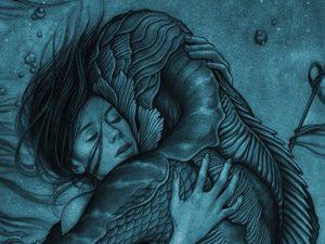 Человек-амфибия целует девушку в трейлере фильма «Форма воды»